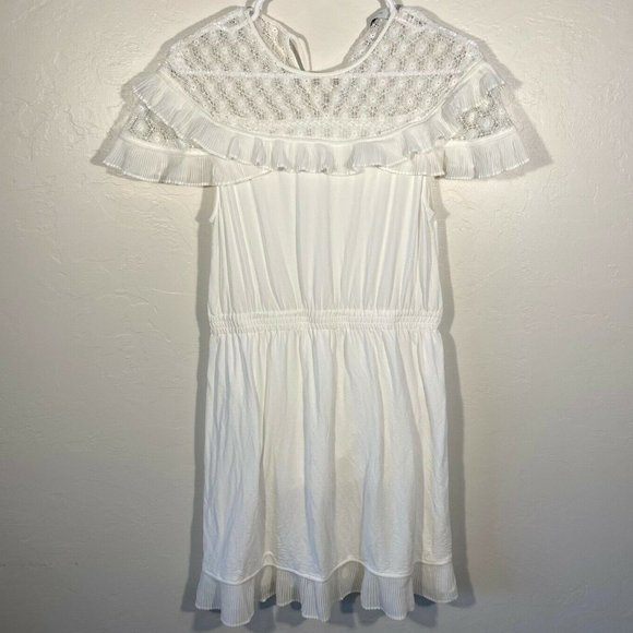 Sandro Short Cap Sleeve Ruffle Dress LACE Accent 8